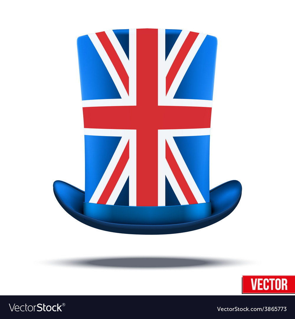 Cylinder hat with a British flag Royalty Free Vector Image