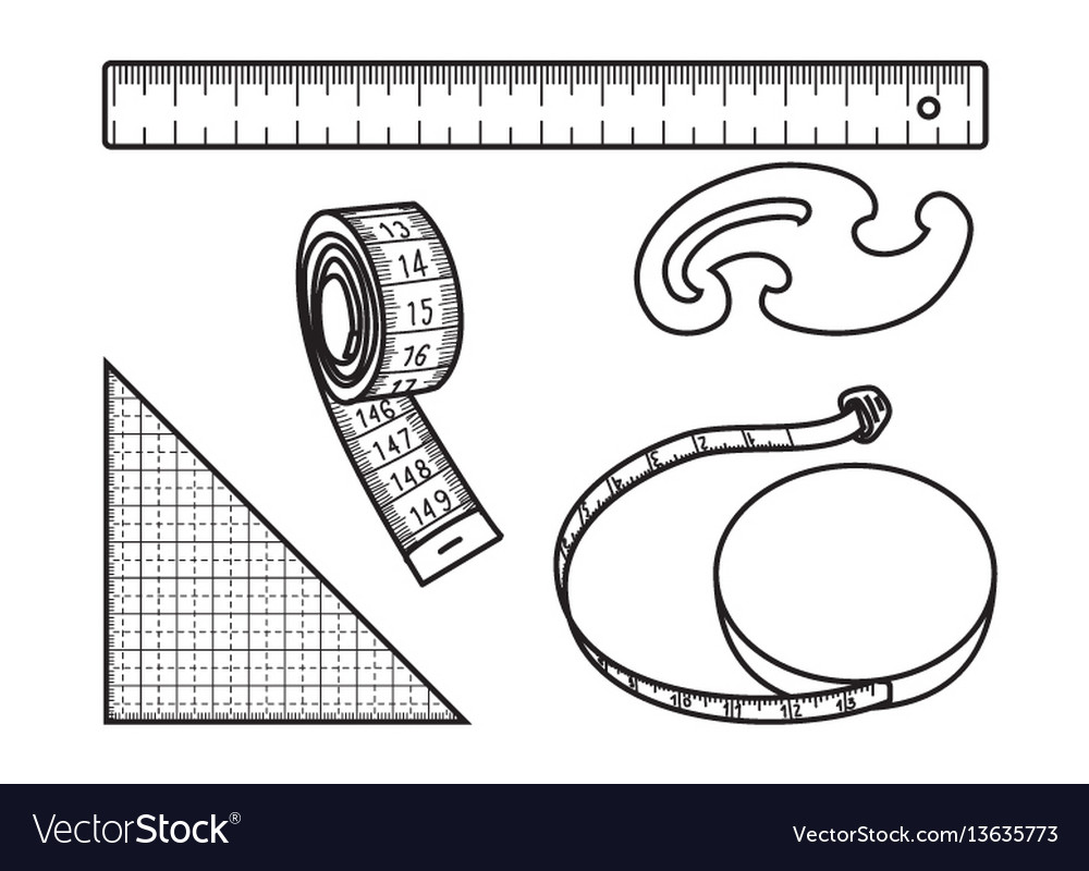 Sewing measure tools vector image