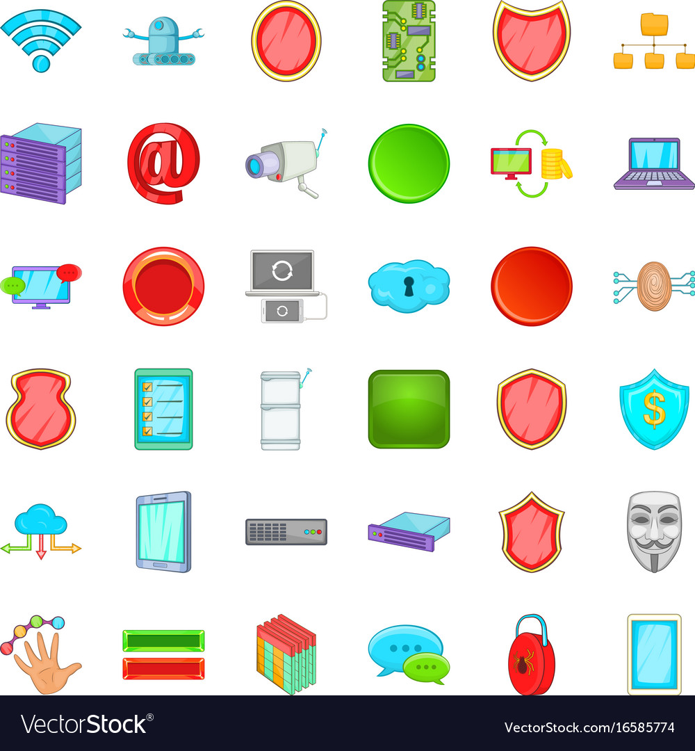 Cyber protection icons set cartoon style vector image