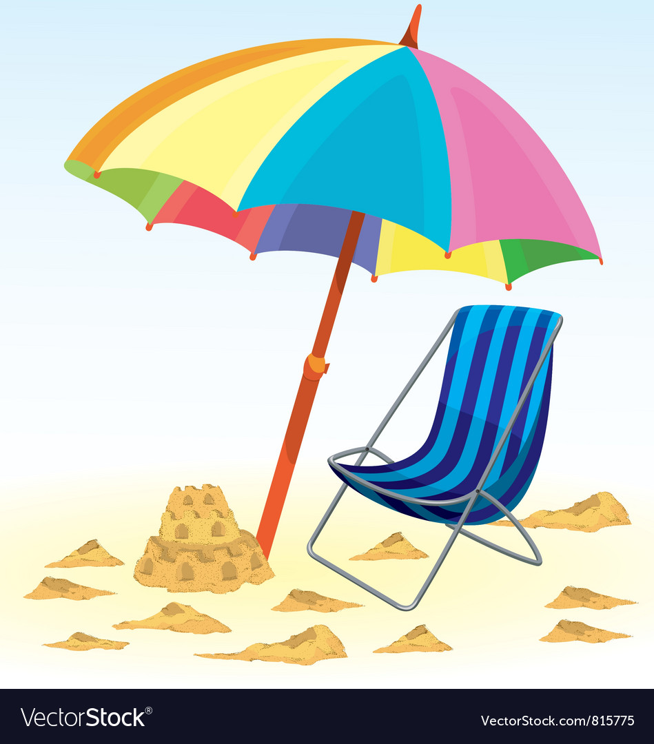 Beach umbrella chair royalty free vector image beach umbrella chair vector image voltagebd Gallery