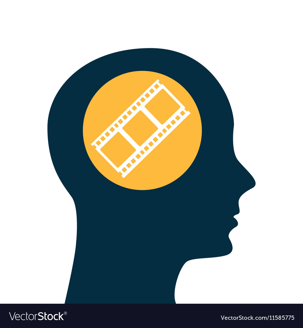 silhouette head concept cinema film strip vector image