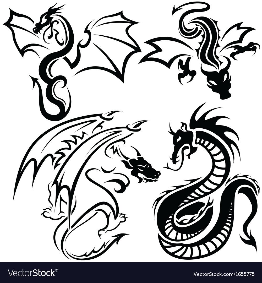 Tattoo Dragons vector image
