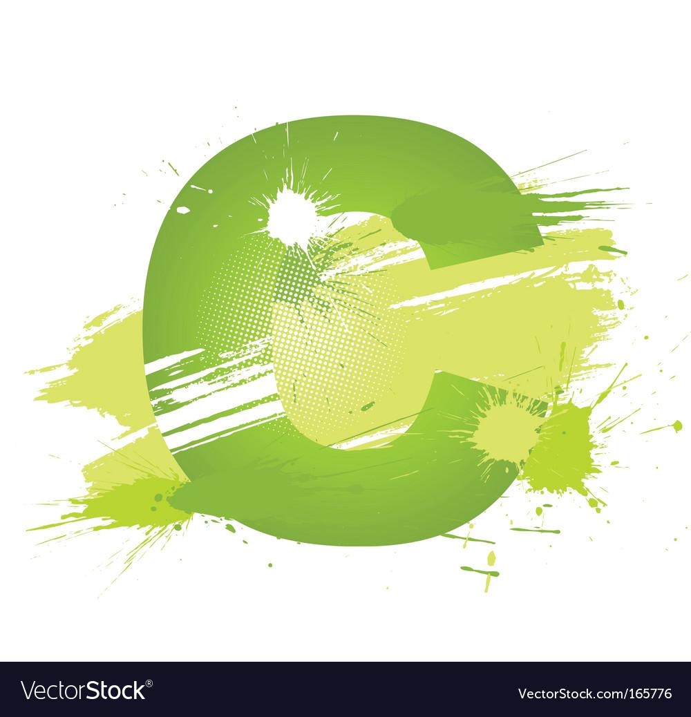 Paint splashes font letter c vector image