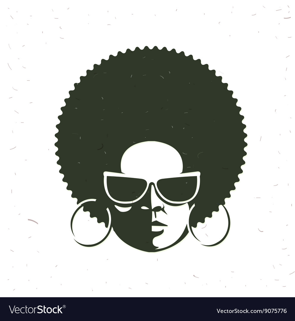 Front view portrait of a black woman face with vector image