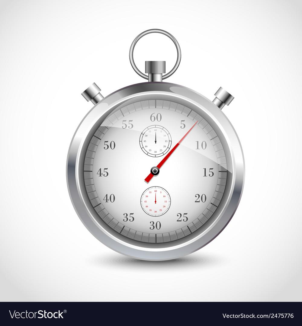 Realistic metallic stopwatch vector image