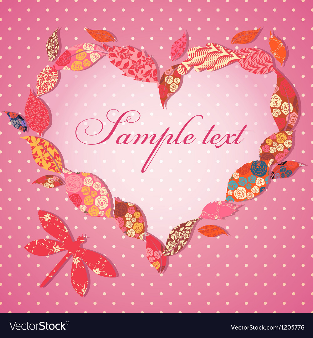 Scrap-booking Valentine card with frame of patch vector image