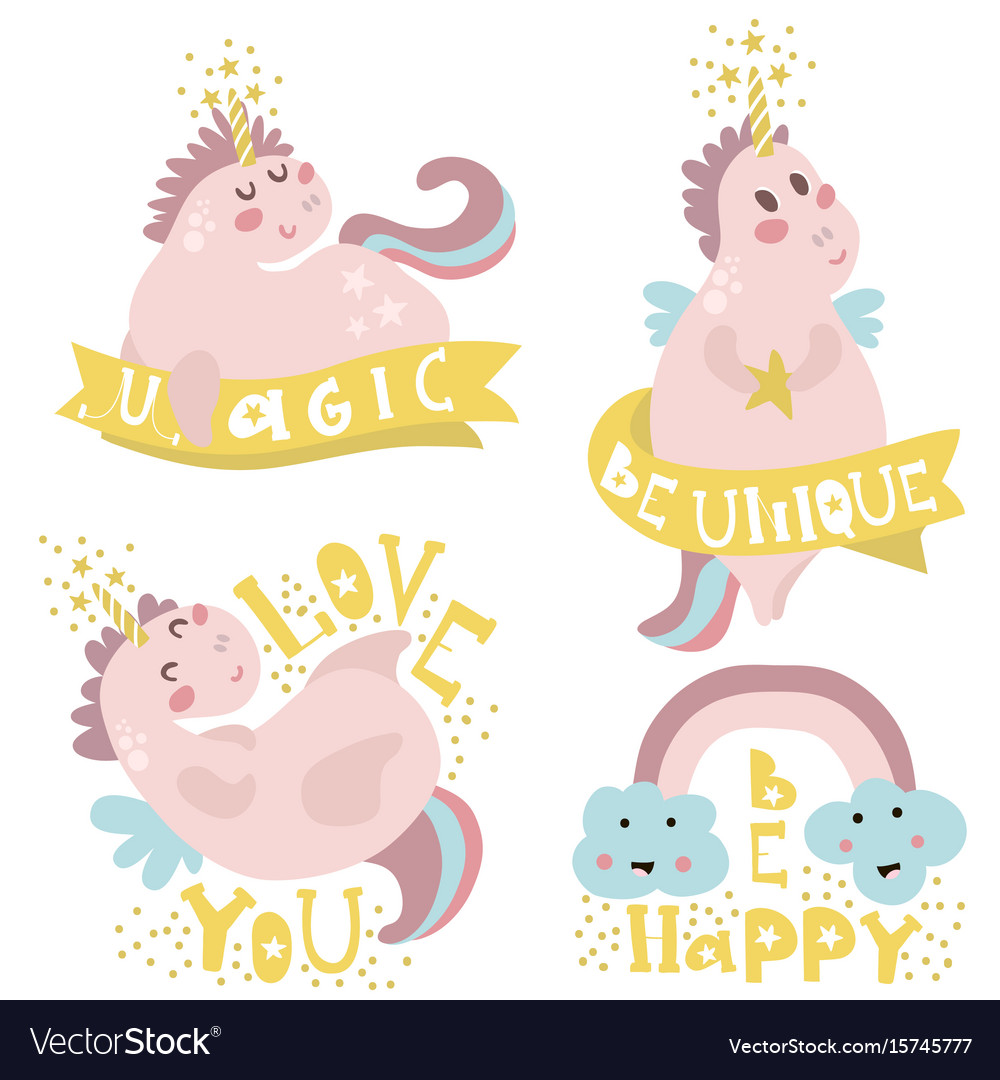 Set of four magic unicorns with different type of vector image