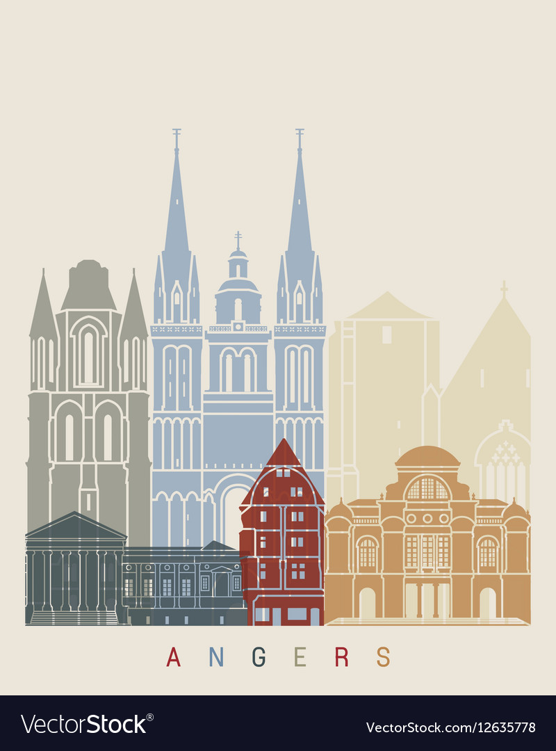 Angers skyline poster vector image