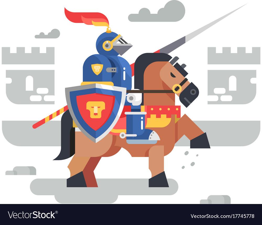 Knight on horseback character vector image