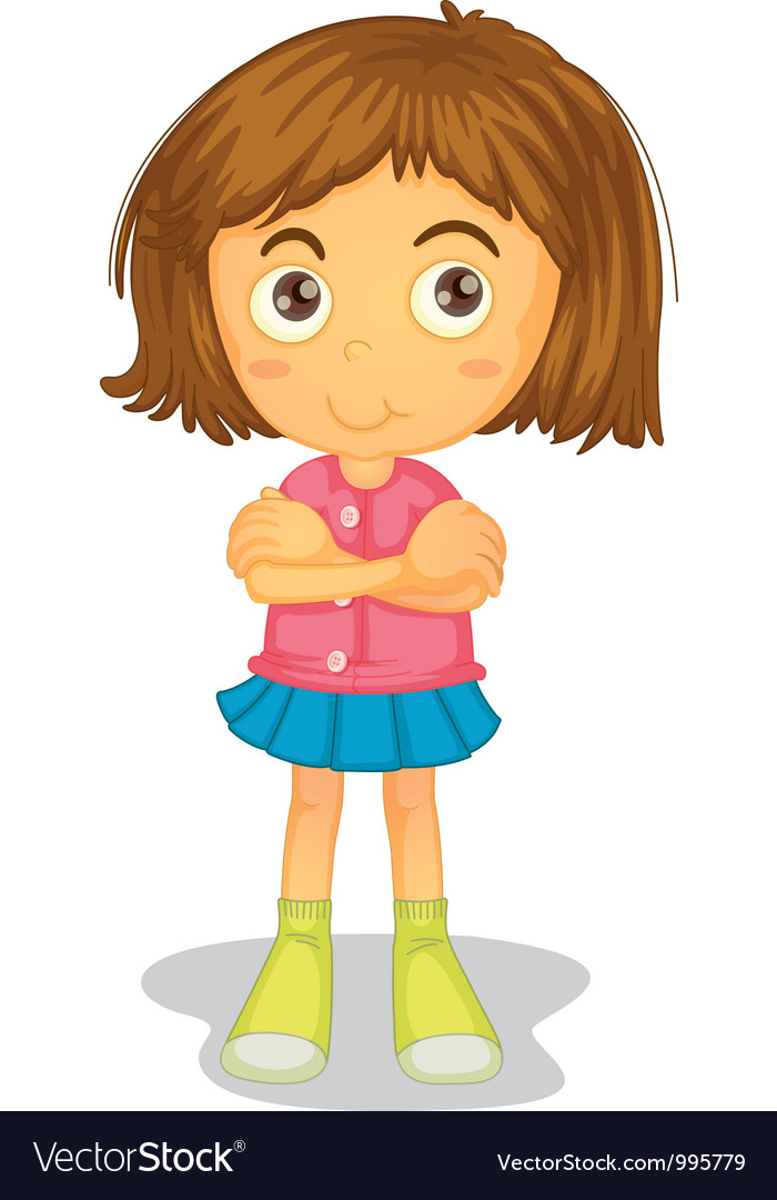 Arms Crossed Young Girl Royalty Free Vector Image