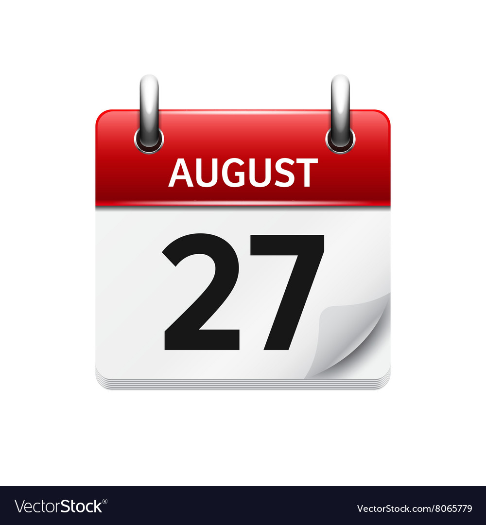 August 27 flat daily calendar icon Date Royalty Free Vector