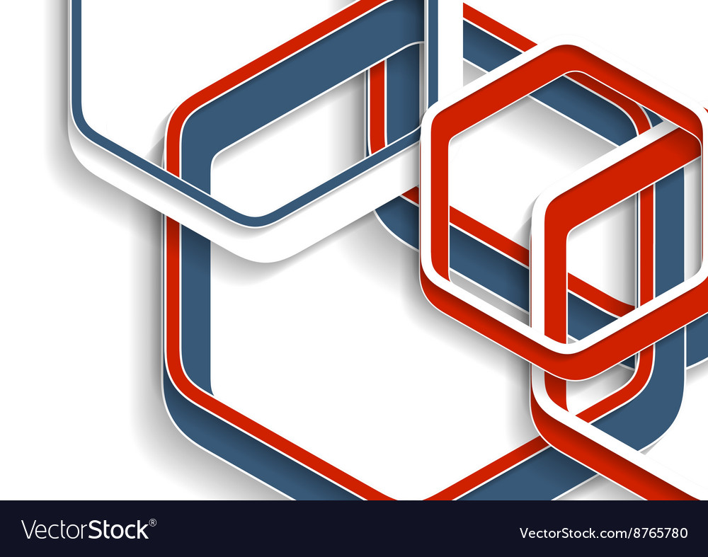 Abstract red and blue hexagons tech background vector image