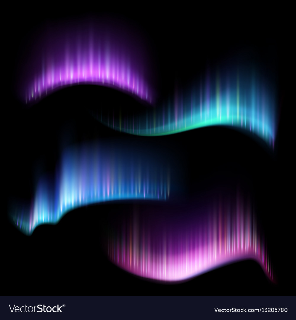 Northern aurora lights strips borealis set vector image