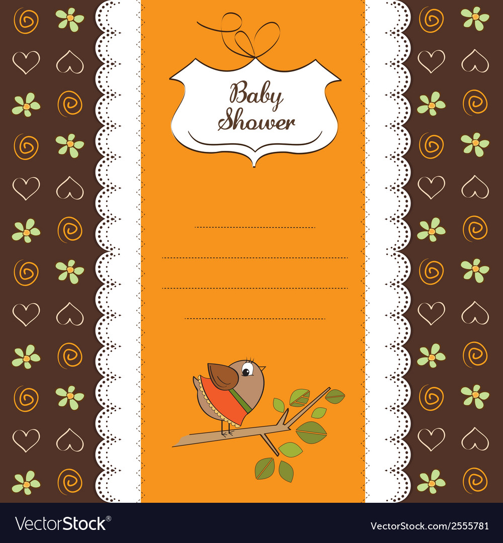 Welcome baby card with funny little bird vector image