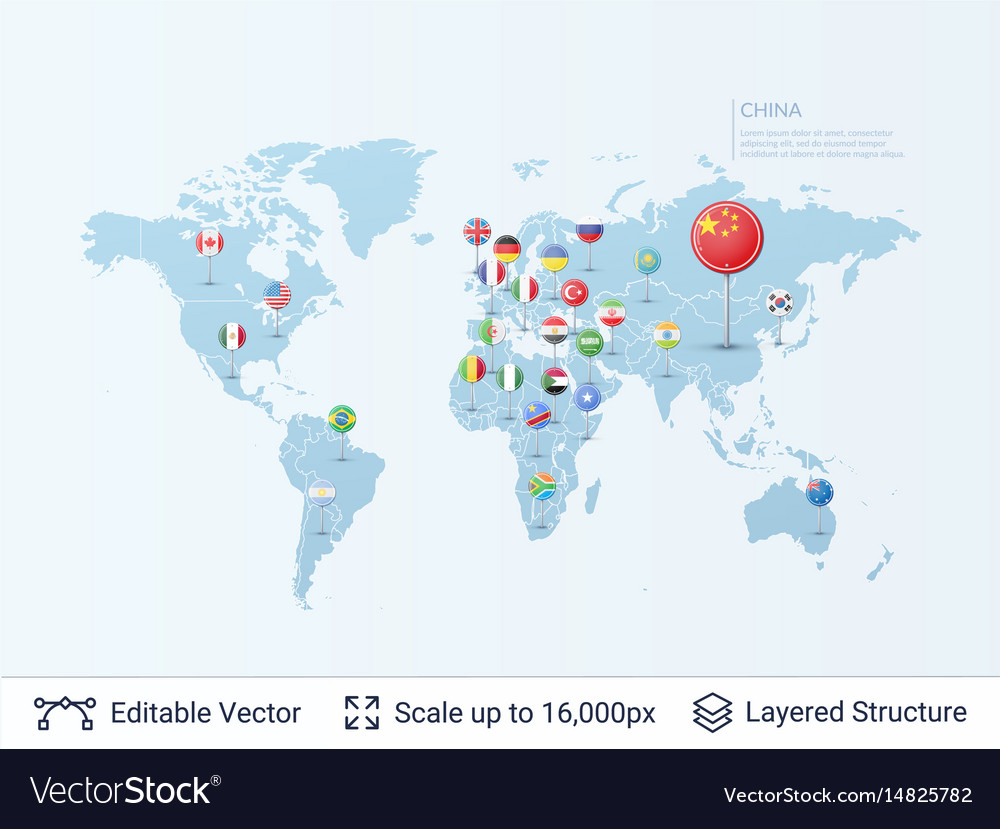 World map with flags royalty free vector image world map with flags vector image gumiabroncs Images