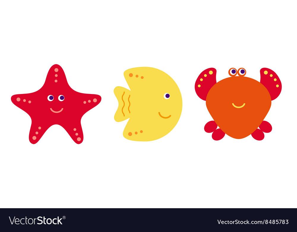 Cute cartoon fish crab and starfish icons vector image