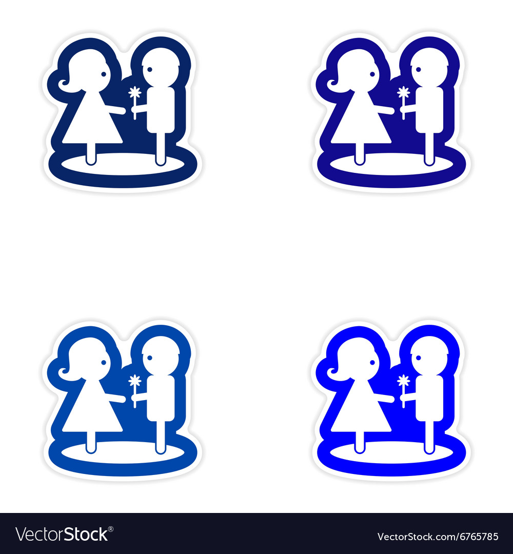 Set paper stickers on white background boy gives