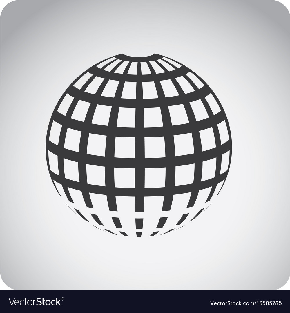Gray emblem global planet icon vector image