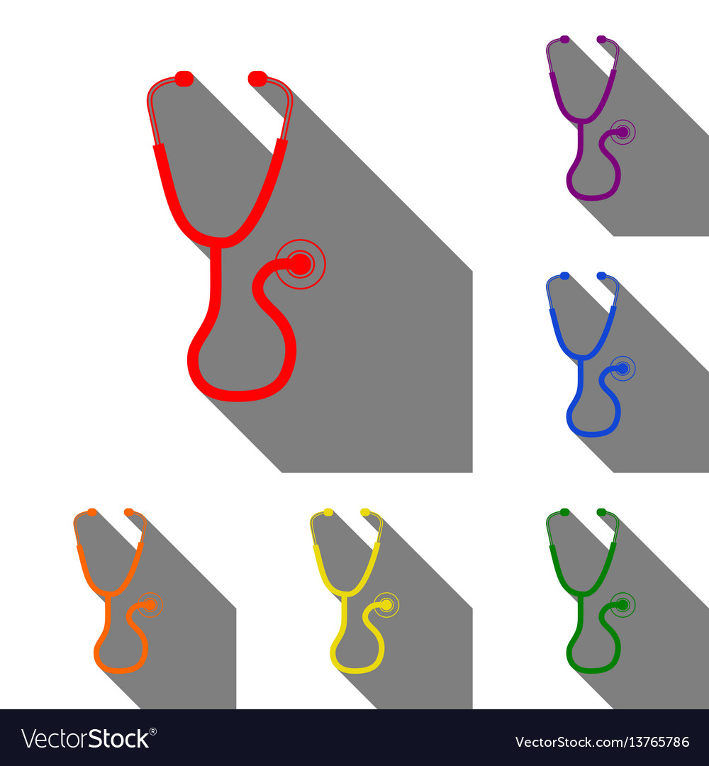 Stethoscope sign set of red orange vector image