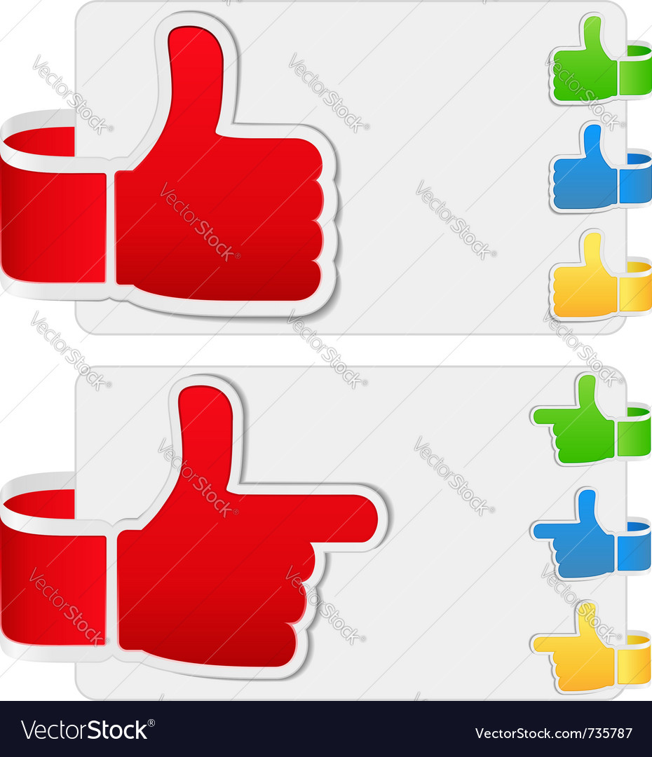 Thumb up stickers Vector Image