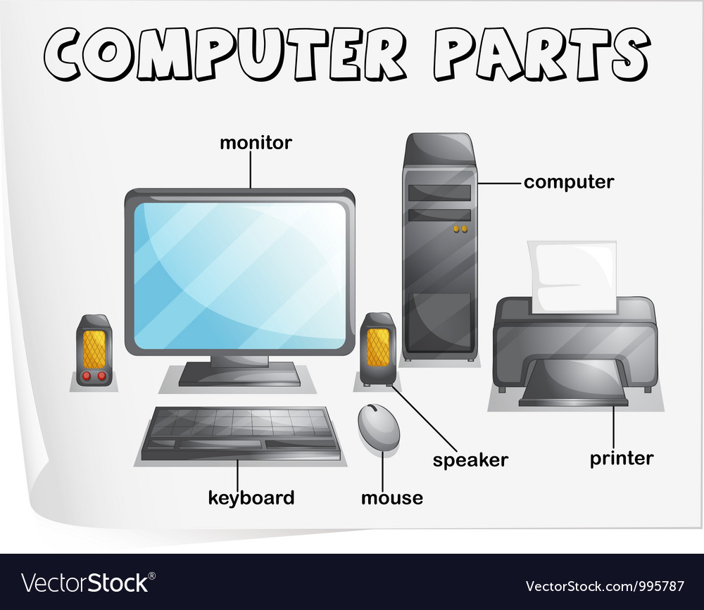 computer parts diagram royalty free vector image rh vectorstock com Laptop Lid Diagram Computer Diagram Elements