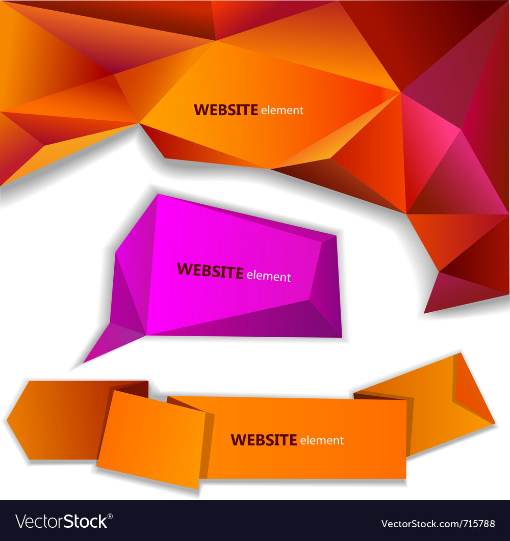 Abstract origami paper banner website element vector image