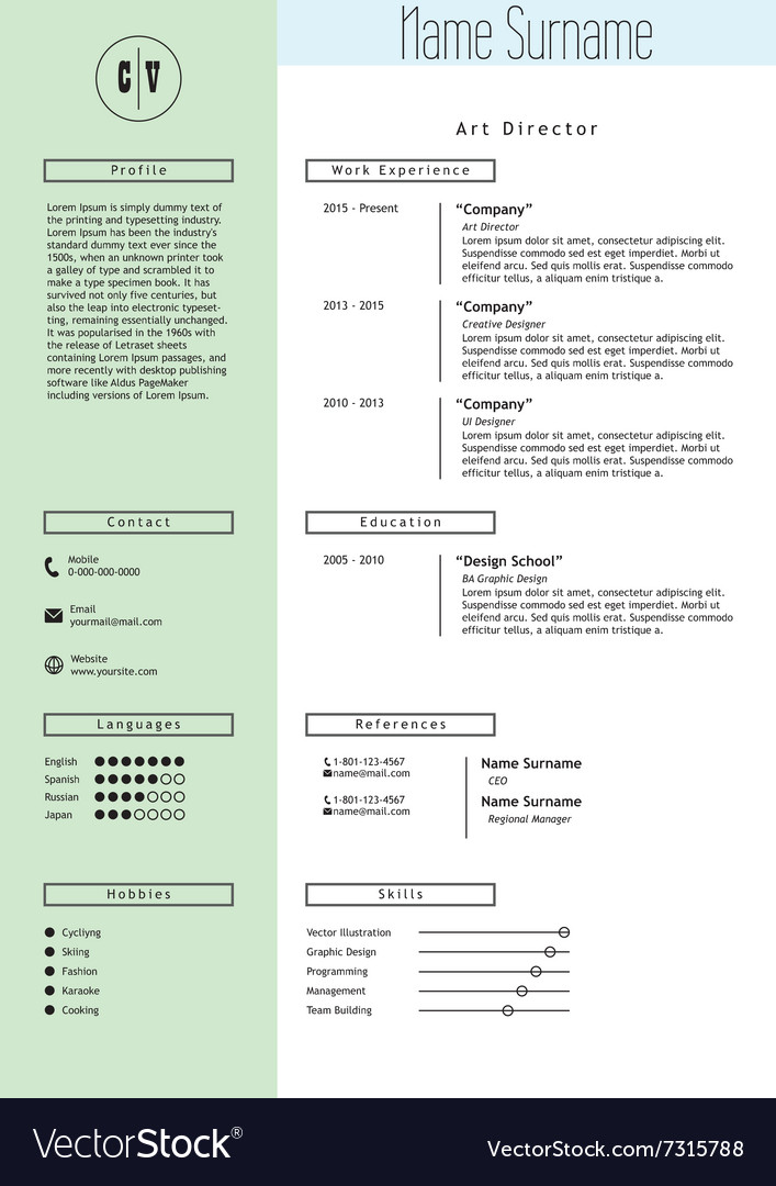 creative resume template minimalist style vector image. Resume Example. Resume CV Cover Letter
