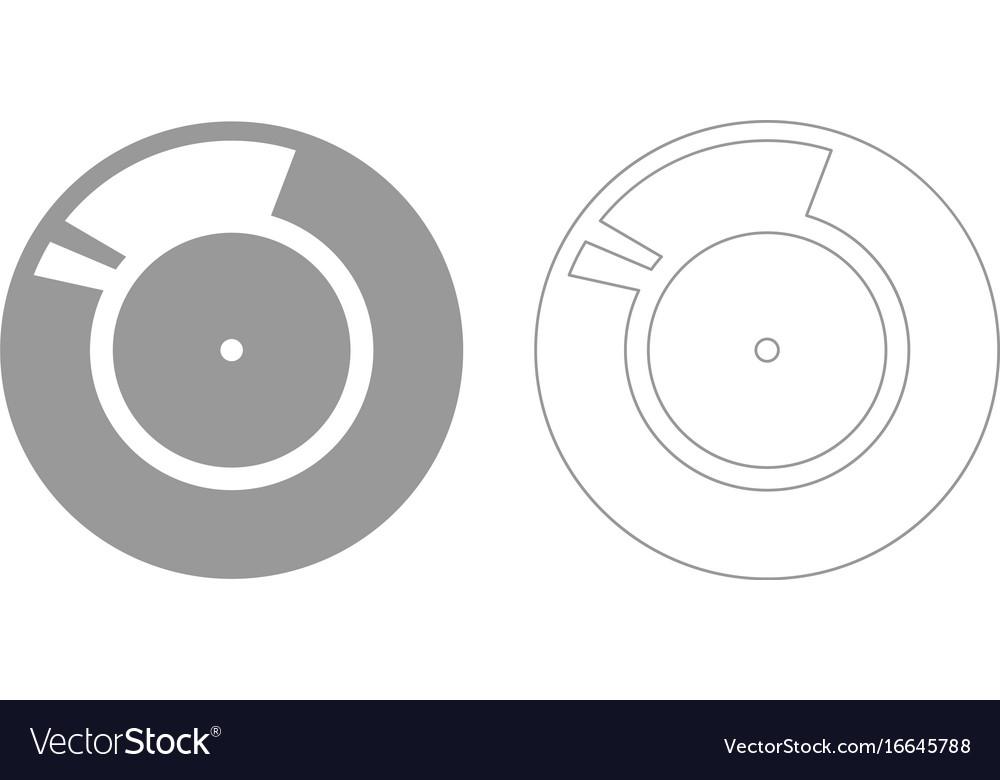 Vinyl record retro sound carrier grey set icon vector image