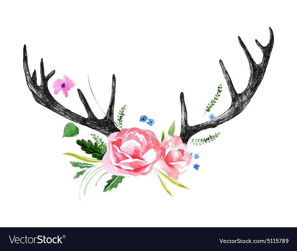 Deer horns with watercolor flowers vector image
