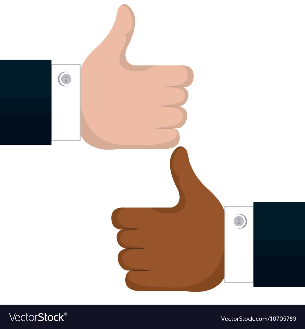 Two hands like multicultural isolated vector image