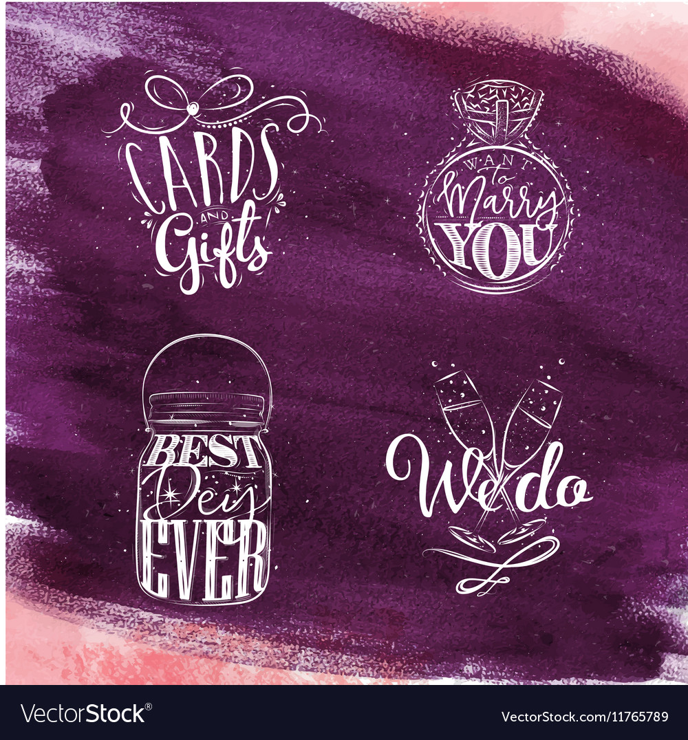 Wedding symbols violet vector image