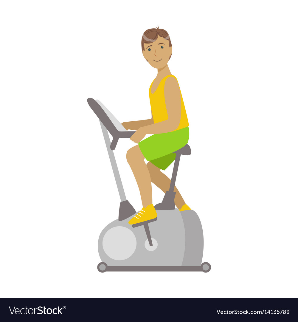 Young brunette male is working out in a cycling vector image