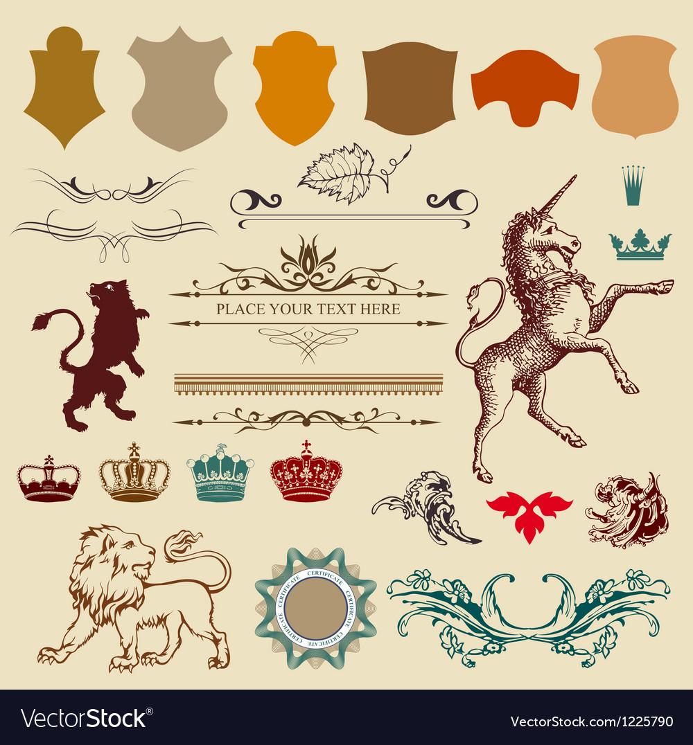 Heraldry design elemants vector image