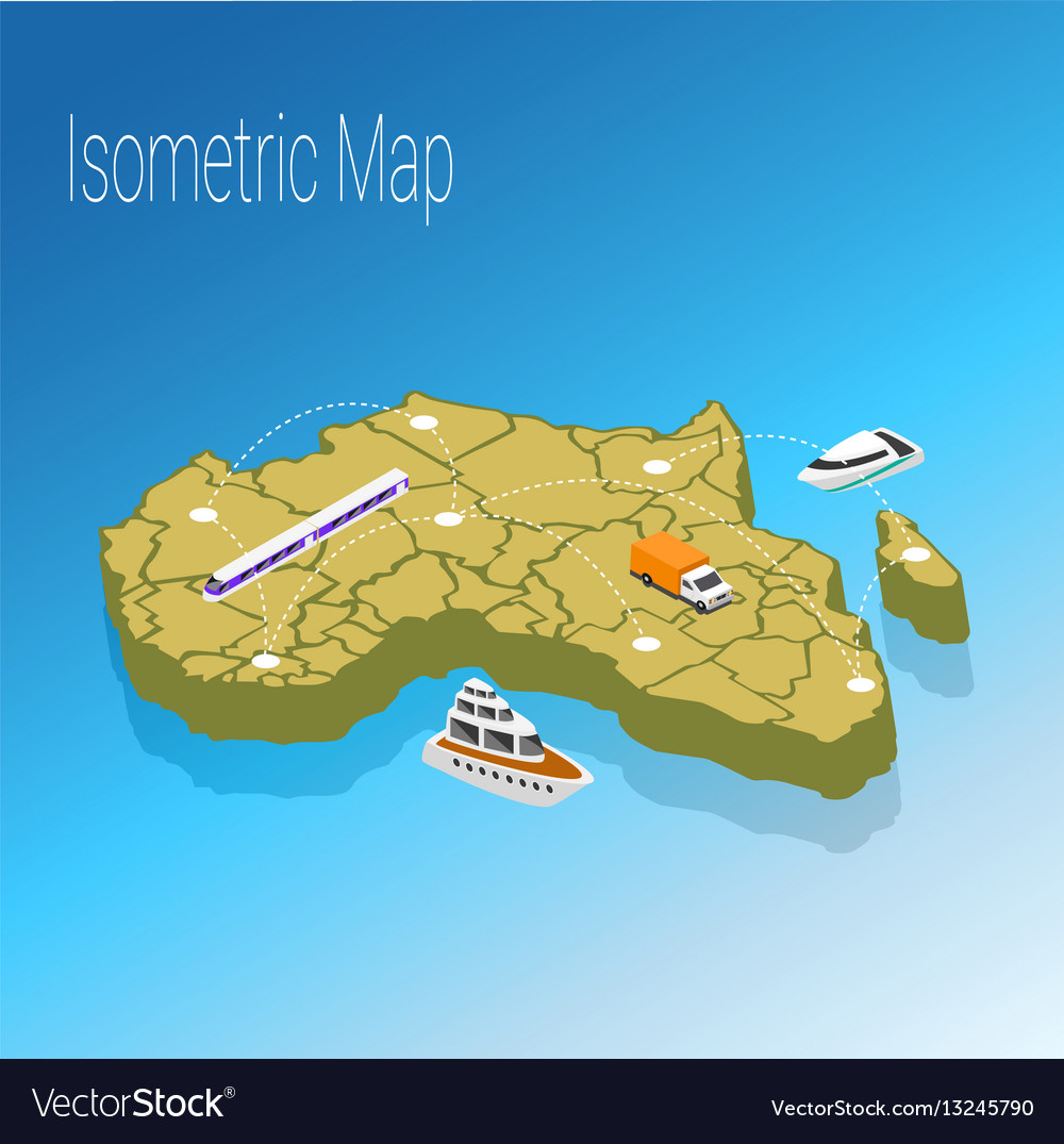 Map africa isometric concept vector image