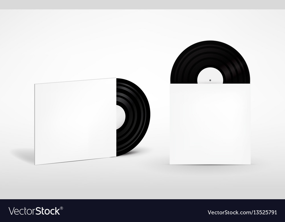 Set of vinyl record and envelope for plate retro vector image