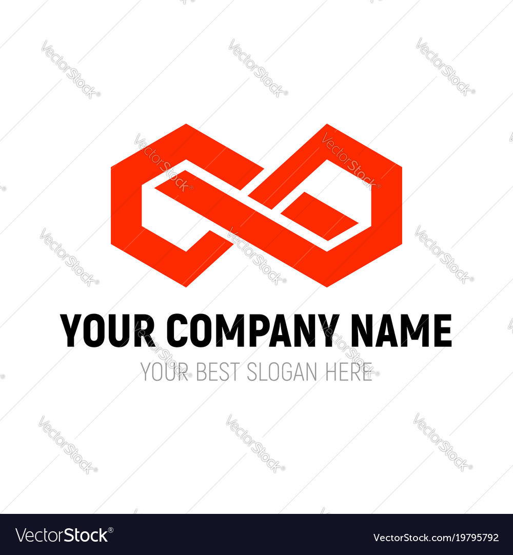 Abstract infinite block logo design template vector image