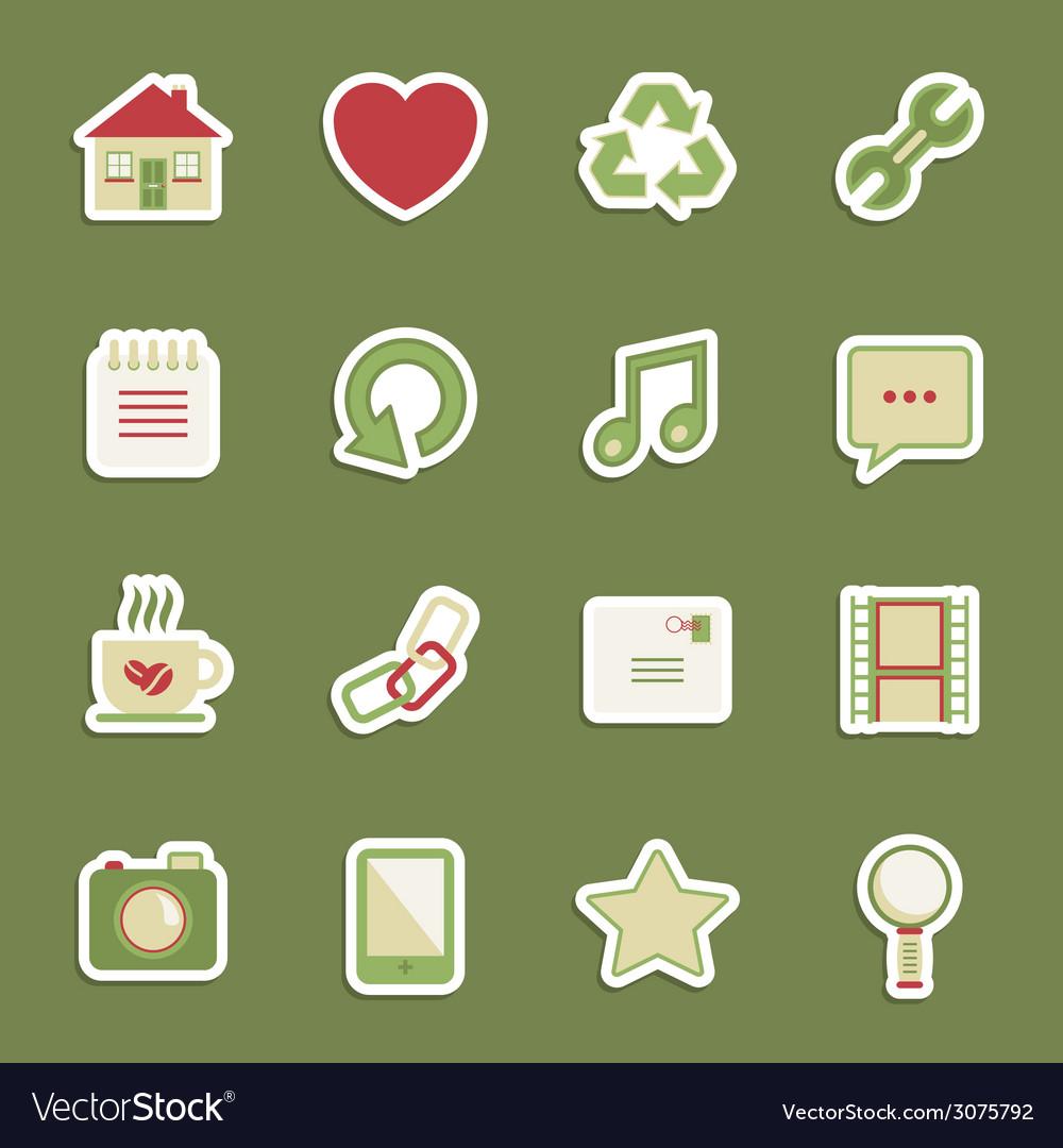 Media stickers vector image