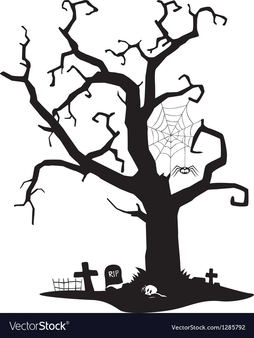 Spooky silhouette of tree vector image