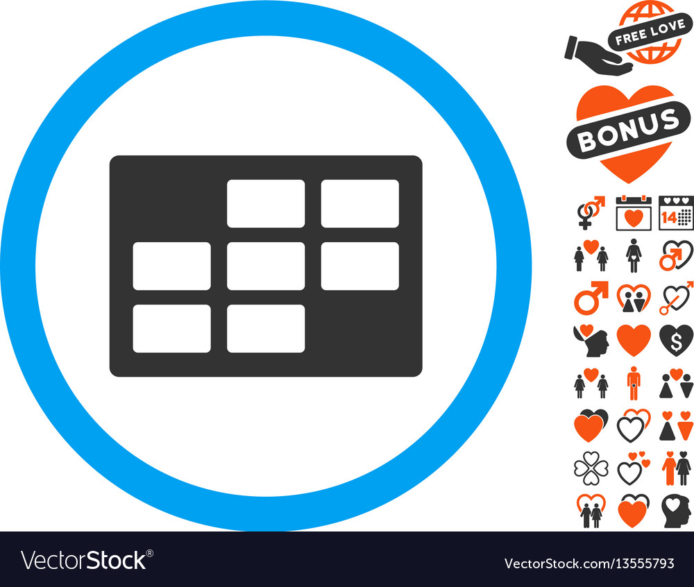 Calendar table icon with dating bonus vector image