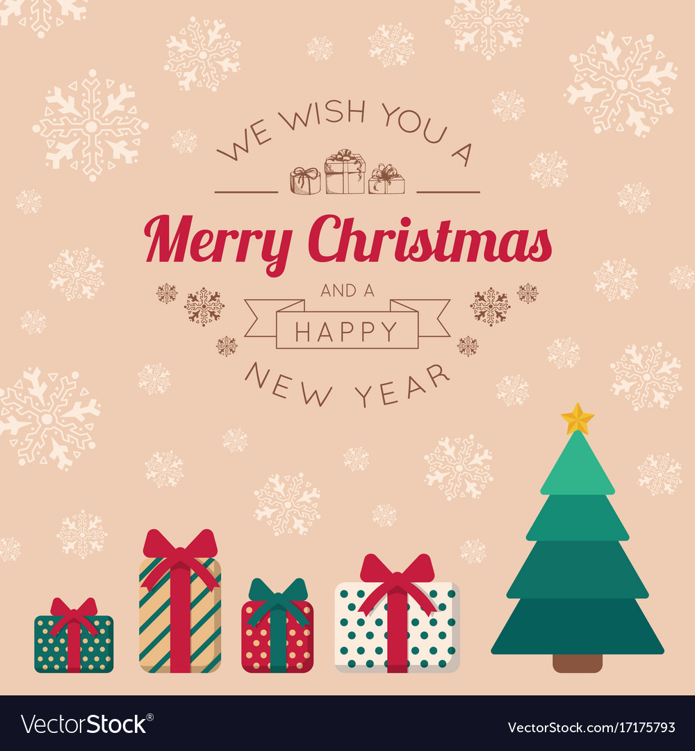 Christmas tree with presents and greeting text vector image kristyandbryce Image collections