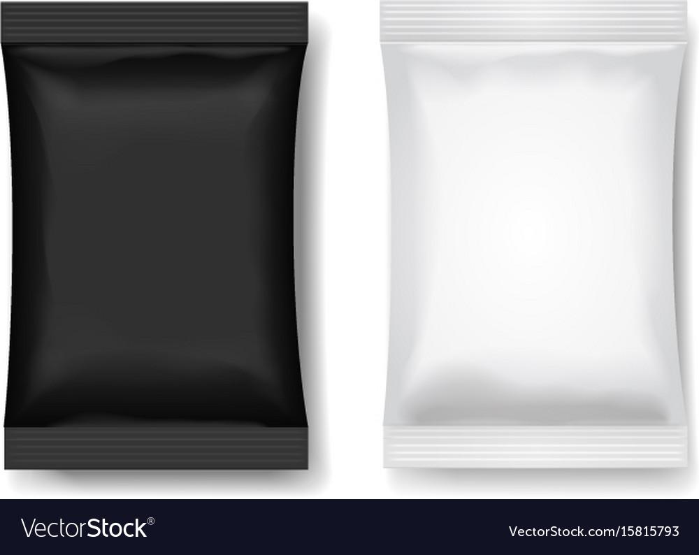 Snack package black white blank food packaging vector image