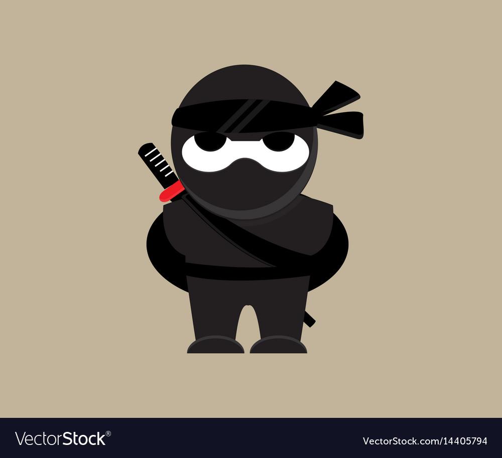 Cute ninja character vector image