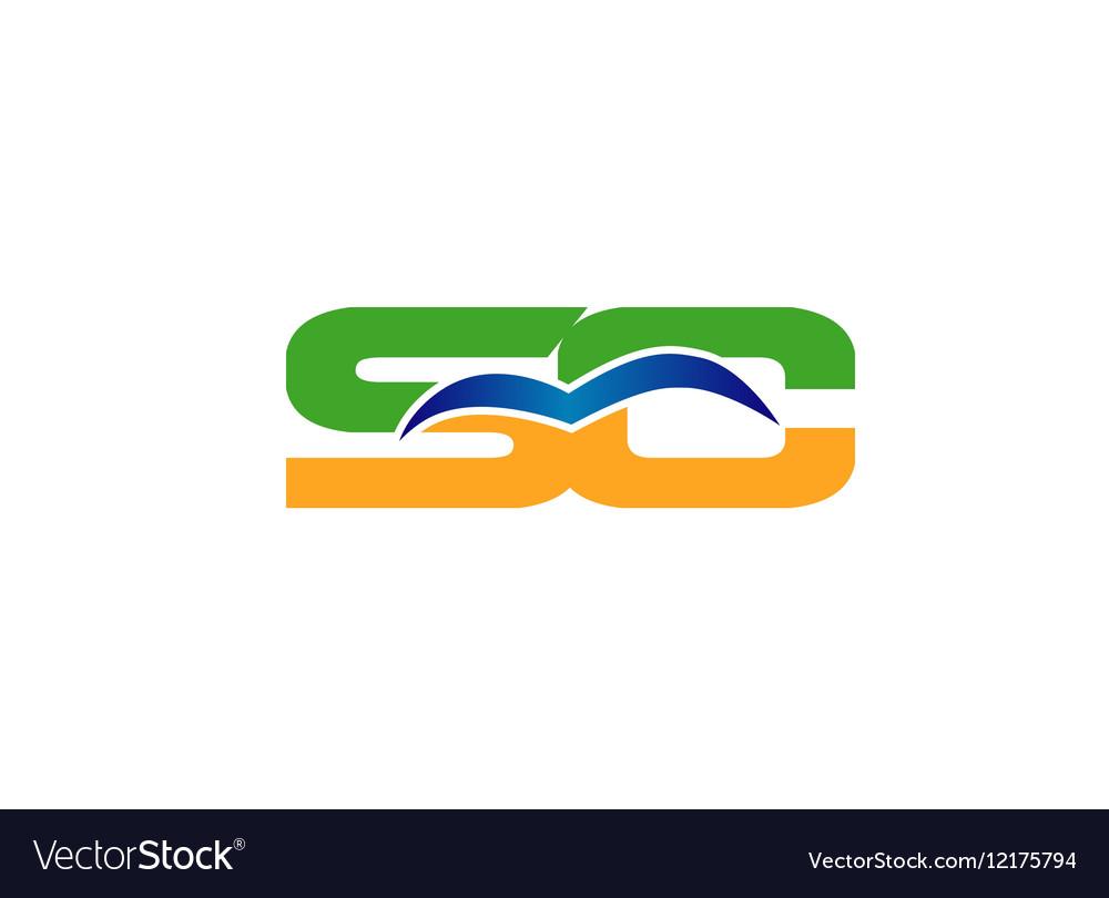 Elegant alphabet S and C letter logo vector image