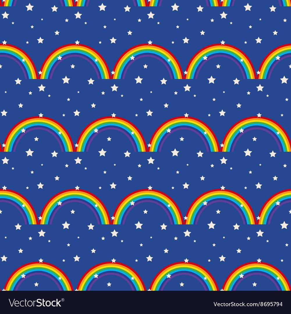 Night sky kid seamless pattern vector image