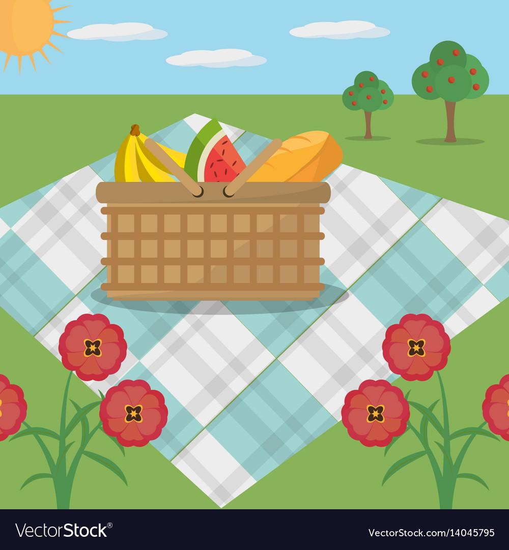 Picnic basket blanket meadow flowers vector image