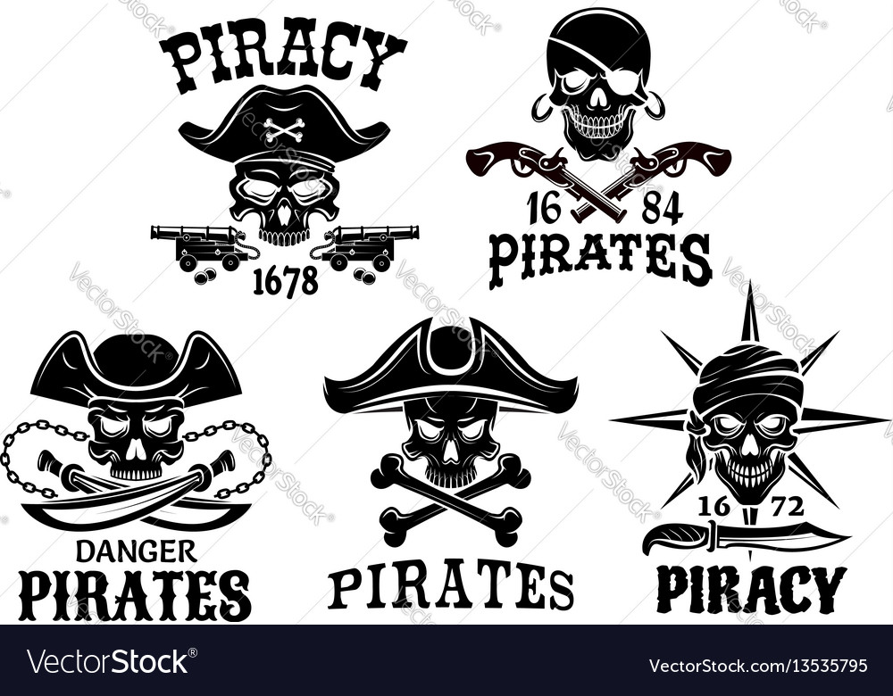 Pirate symbols and jolly roger icons set vector image