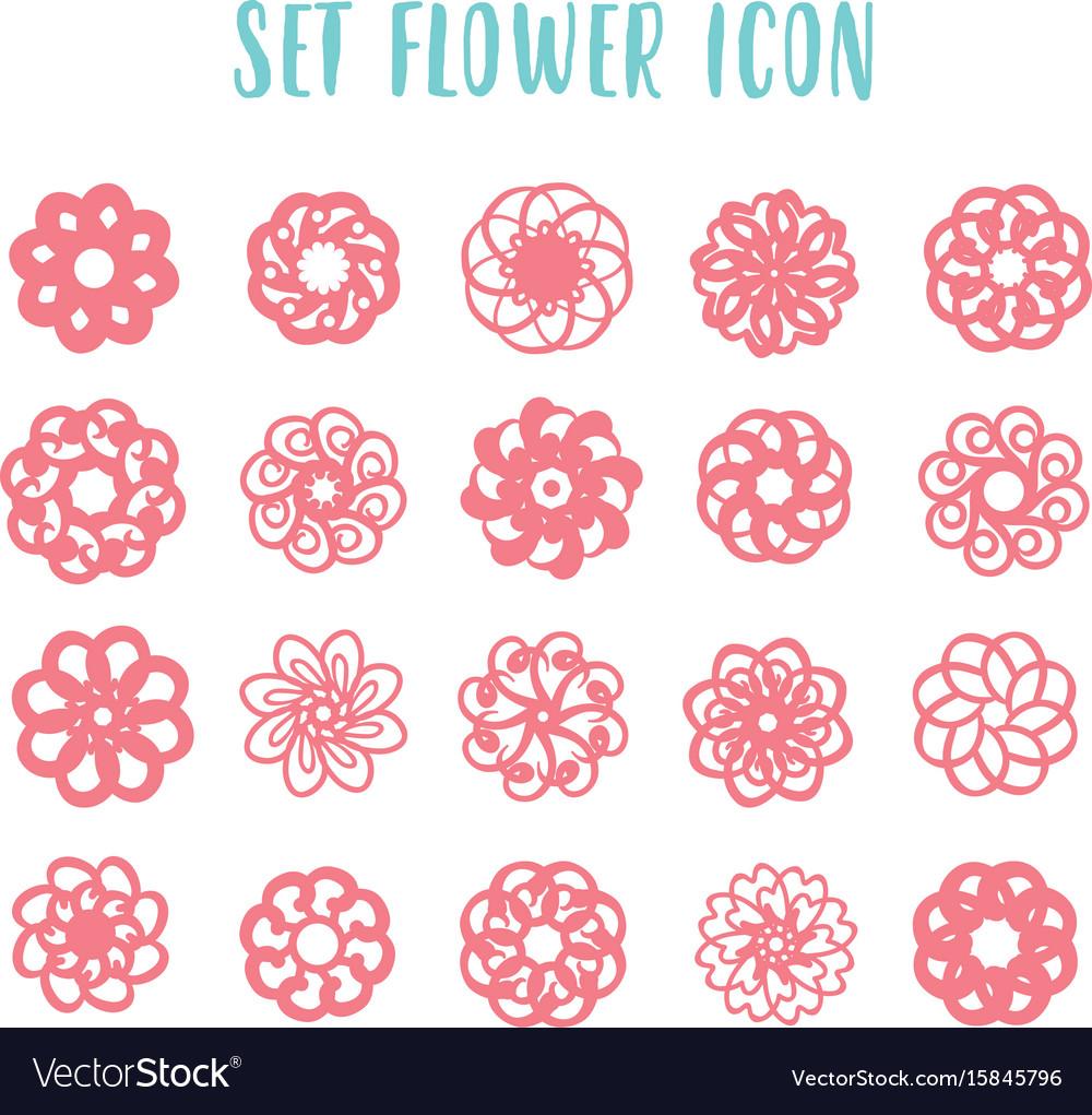 Set icon geometric flowers vector image