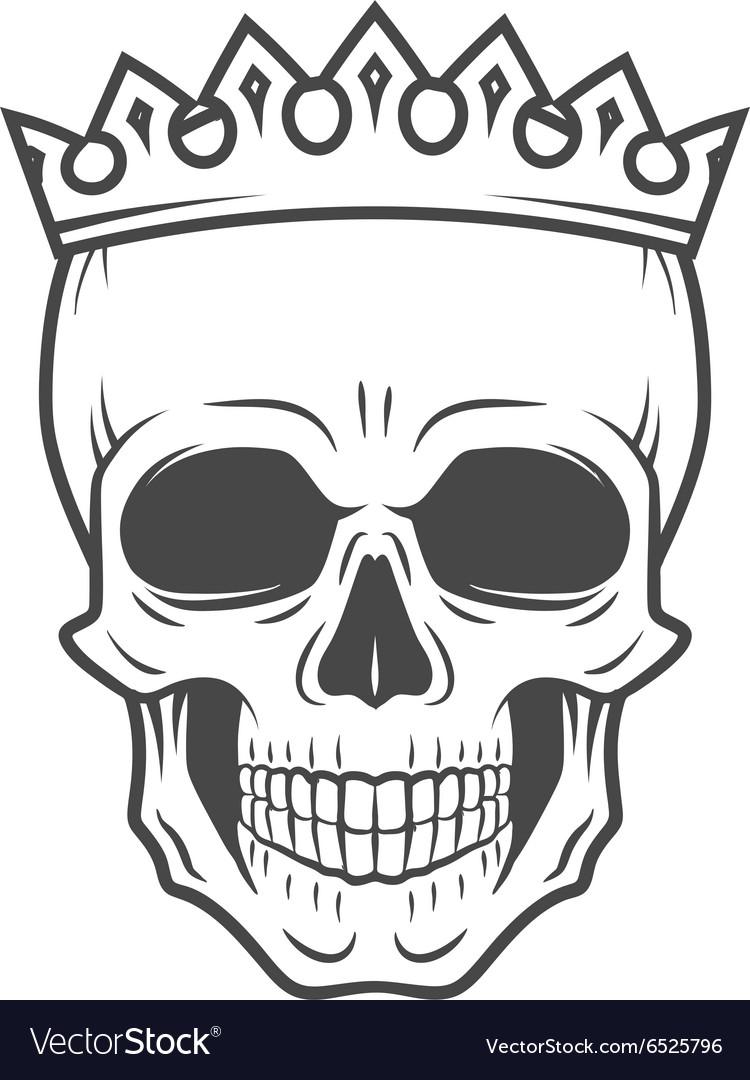Skull King Crown design element Vintage Royal vector image