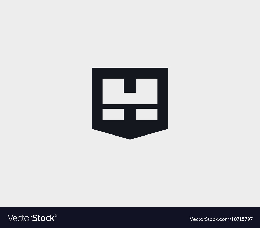 Abstract letter H shield logo design template Royalty Free Vector ...