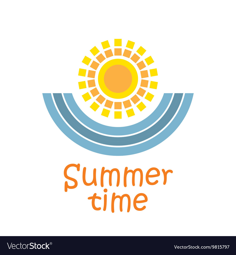 Summer time with sun and sea waves vector image